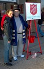 Melanie and Barry ringing the Salvation Army bells